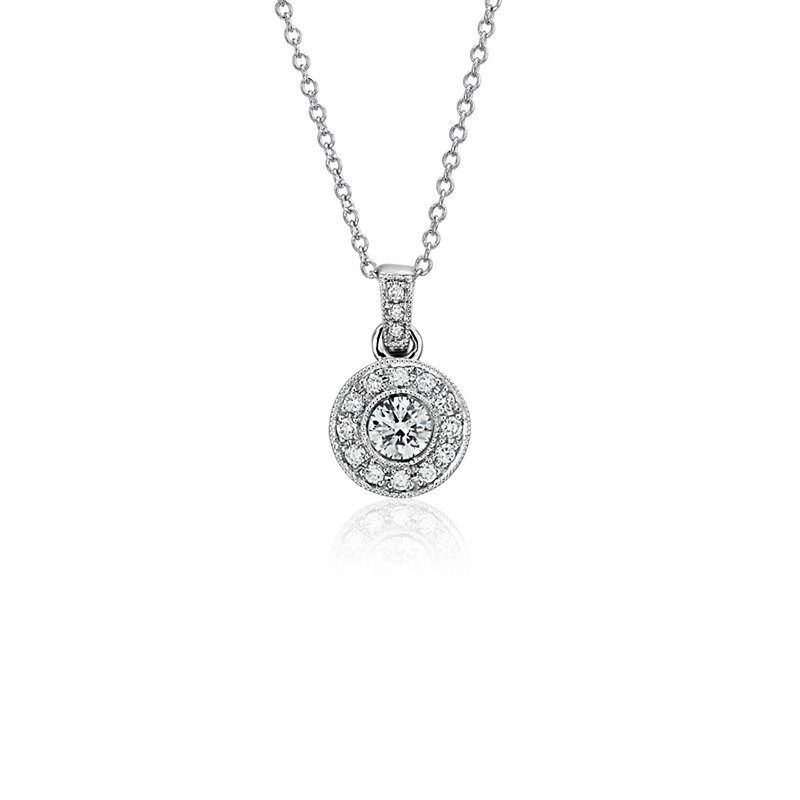 Vintage- Style Halo Diamond Pendant in 18k White Gold (3/8 ct. tw