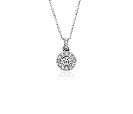 Vintage- Style Halo Diamond Pendant in 18k White Gold (2/5 ct. tw.)