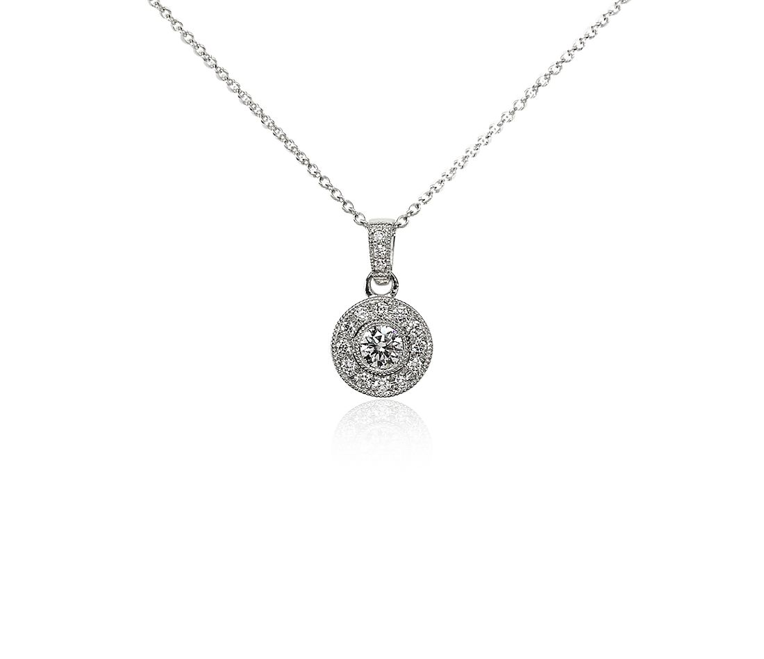 Pavé and Bezel Diamond Pendant in 18k White Gold