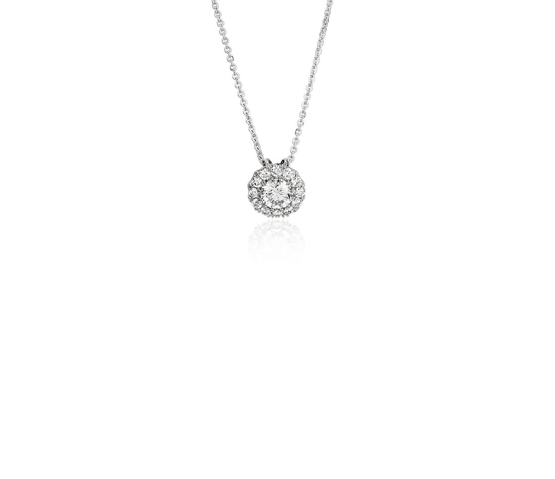 Diamond Halo Pendant in 18k White Gold - H / SI2 (1/4 ct. tw.)