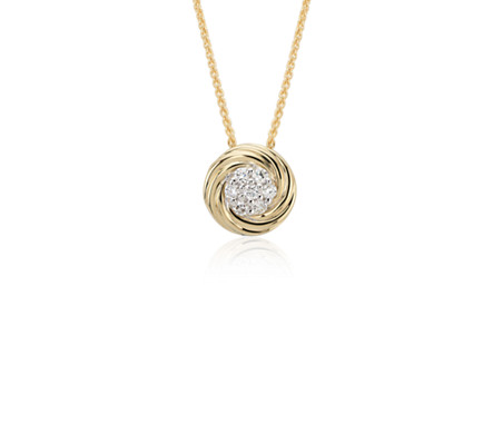 Blue Nile Diamond Wave Pendant in 18k Yellow Gold (1/4 ct tw.)