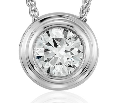 Diamond Solitaire Bezel Pendant in 18k White Gold (3/8 ct. tw.)