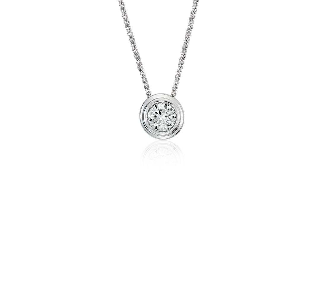 Diamond Solitaire Bezel Pendant in 18k White Gold (5/8 ct. tw.)