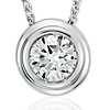 Diamond Solitaire Bezel Pendant in 18k White Gold (5/8 ct. tw.)