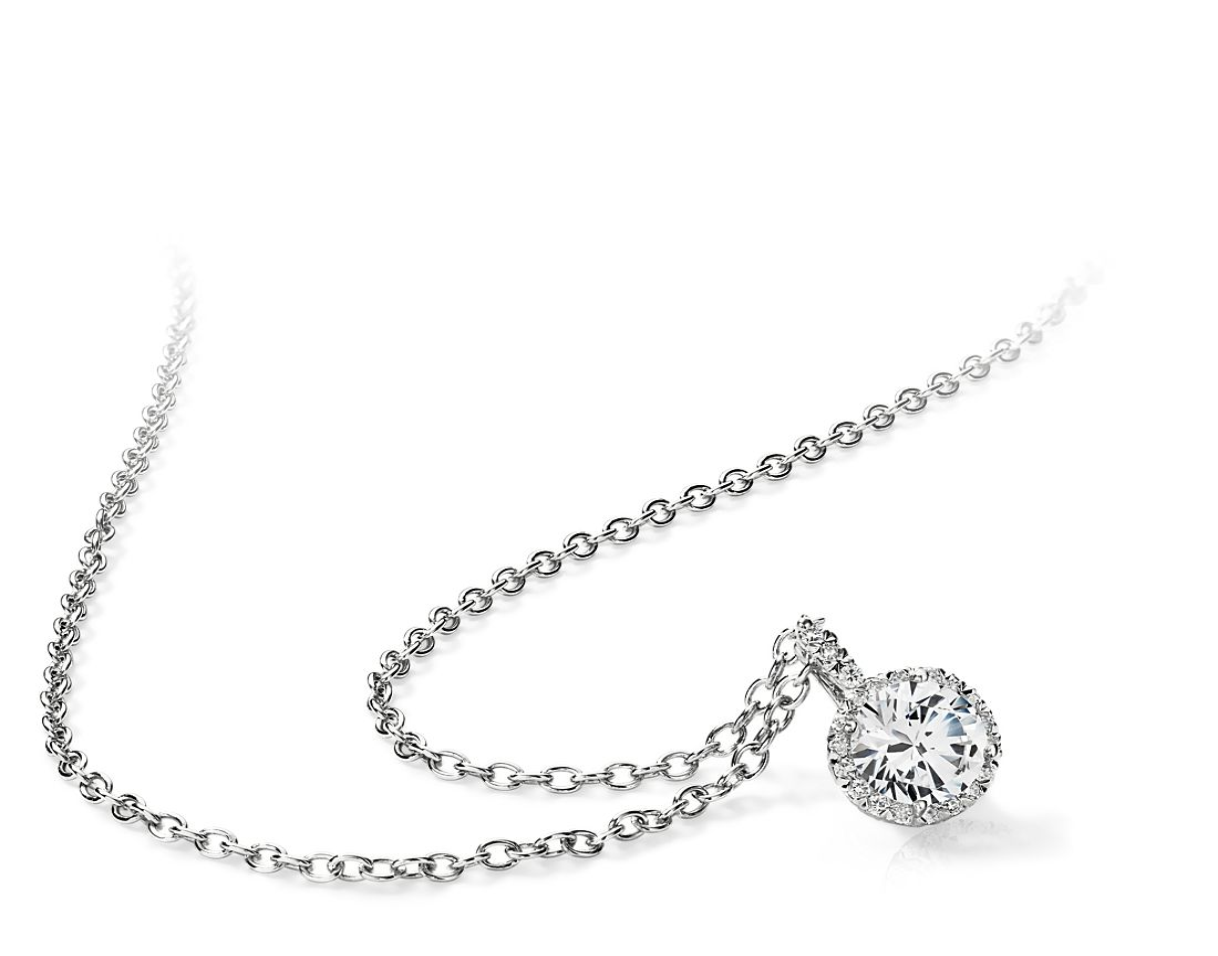 """Colgante """"del amor"""" de diamantes en oro blanco de 18 k"""