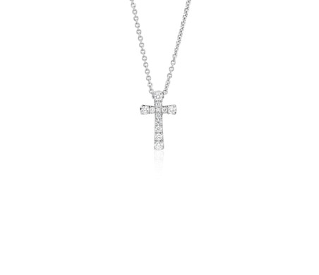 Petite Diamond Cross Pendant in 14k White Gold (1/10 ct. tw.)