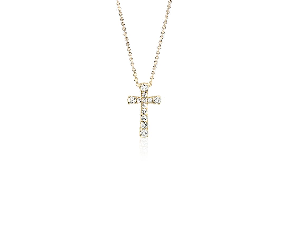 Petite Diamond Cross Pendant in 14k Yellow Gold (1/10 ct. tw.)