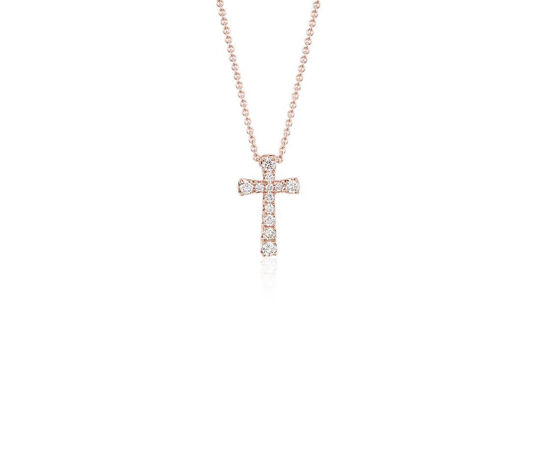 Petite Diamond Cross Pendant in 14k Rose Gold