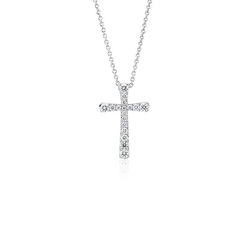 Diamond Cross Pendant in 14k White Gold (1/5 ct. tw.)