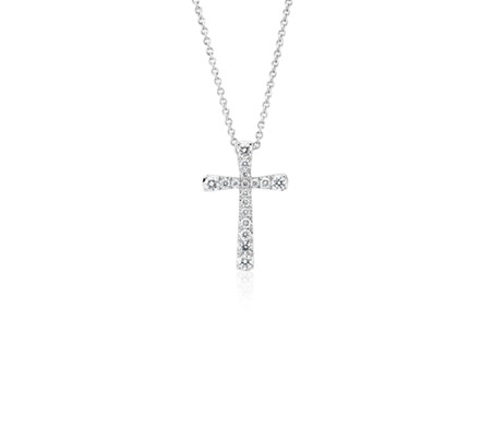 Diamond Cross Pendant in 14k White Gold (1/5 ct. tw.)