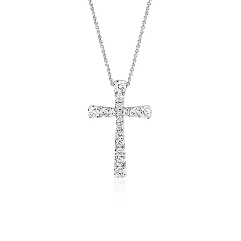 Diamond Cross Pendant in 14k White Gold (1/2 ct. tw.)