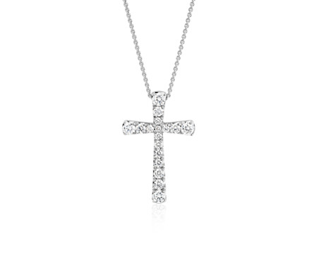 14k 白金 鑽石十字架吊墜<br>( 1/2 克拉總重量)