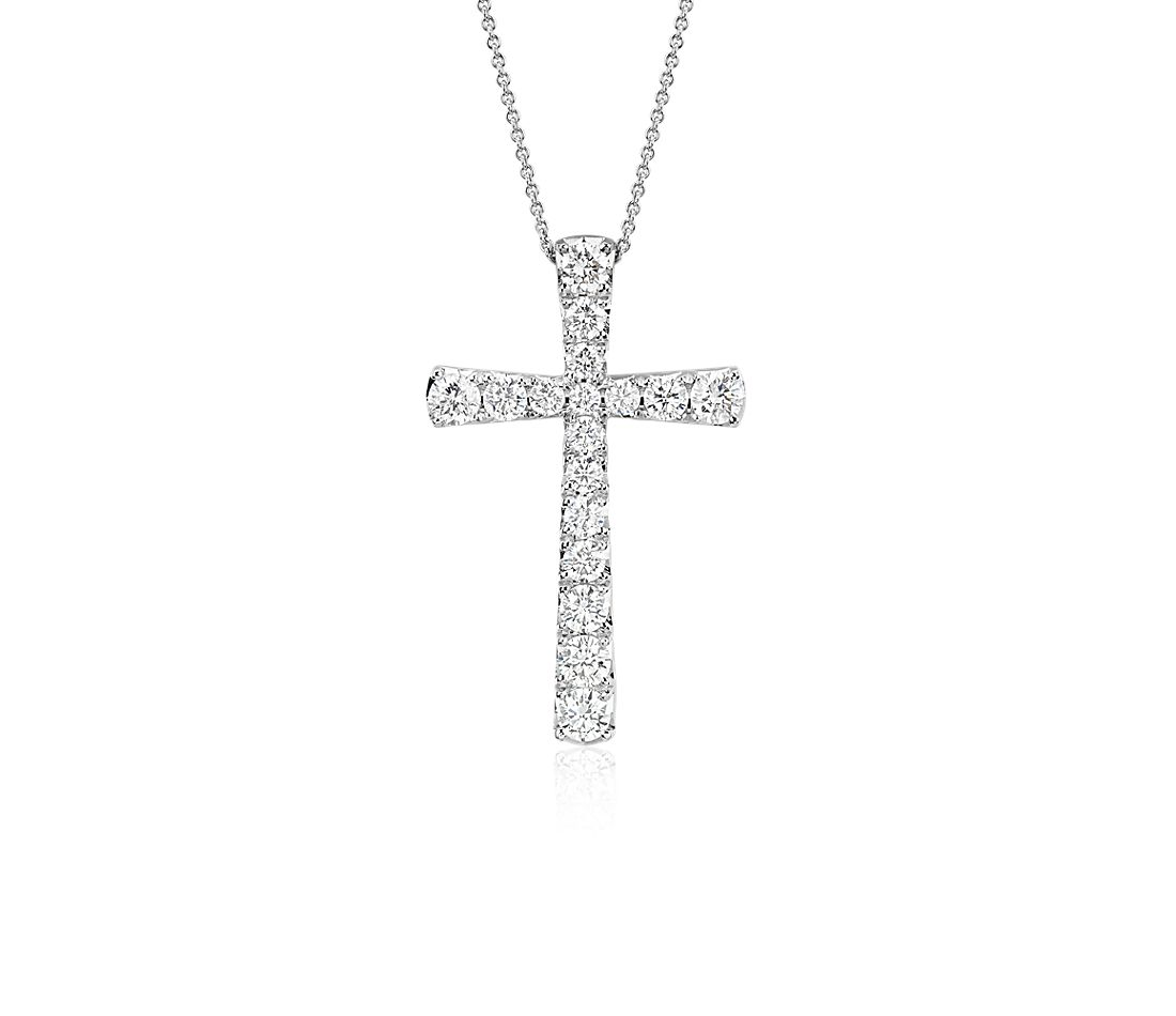 Diamond Cross Pendant in 14k White Gold (1 ct. tw.)