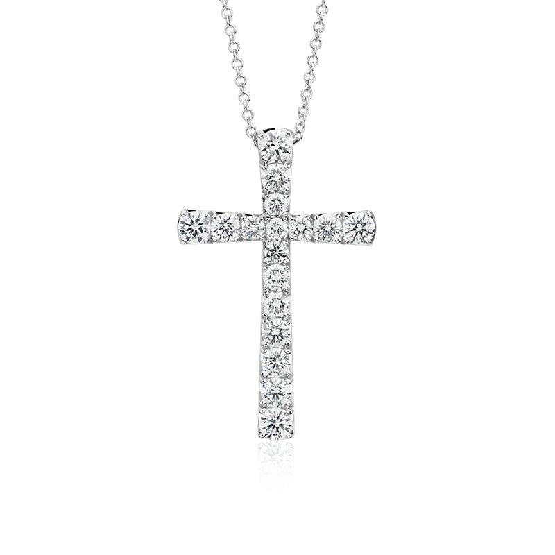 Diamond Cross Pendant in 14k White Gold (1 1/2 ct. tw.)
