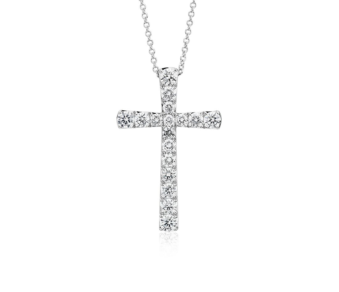 Diamond Cross Pendant in 14k White Gold (1.50 ct. tw.)