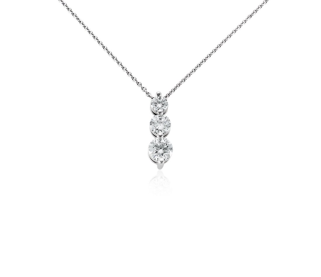 Three-Stone Drop Diamond Pendant in 18k White Gold (1 ct. tw.)