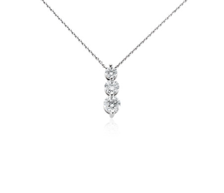 Three stone drop diamond pendant in 18k white gold 1 ct tw three stone drop diamond pendant in 18k white gold 1 ct tw aloadofball