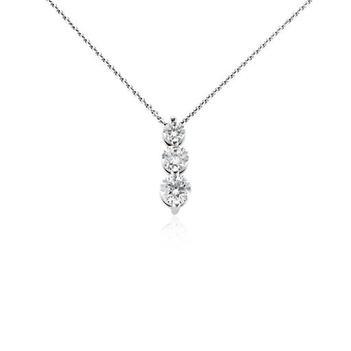 Three Stone Drop Diamond Pendant In 18k White Gold 1 Ct
