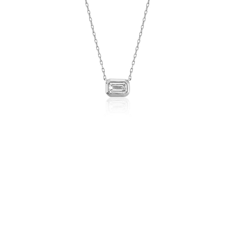 Mini Bezel-Set Emerald-Cut Diamond Pendant in 14k White Gold (1/5