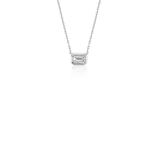 Blue Nile Mini Bezel-Set Emerald-Cut Diamond Pendant in 14k Rose Gold (1/5 ct. tw.) whpvyvzum