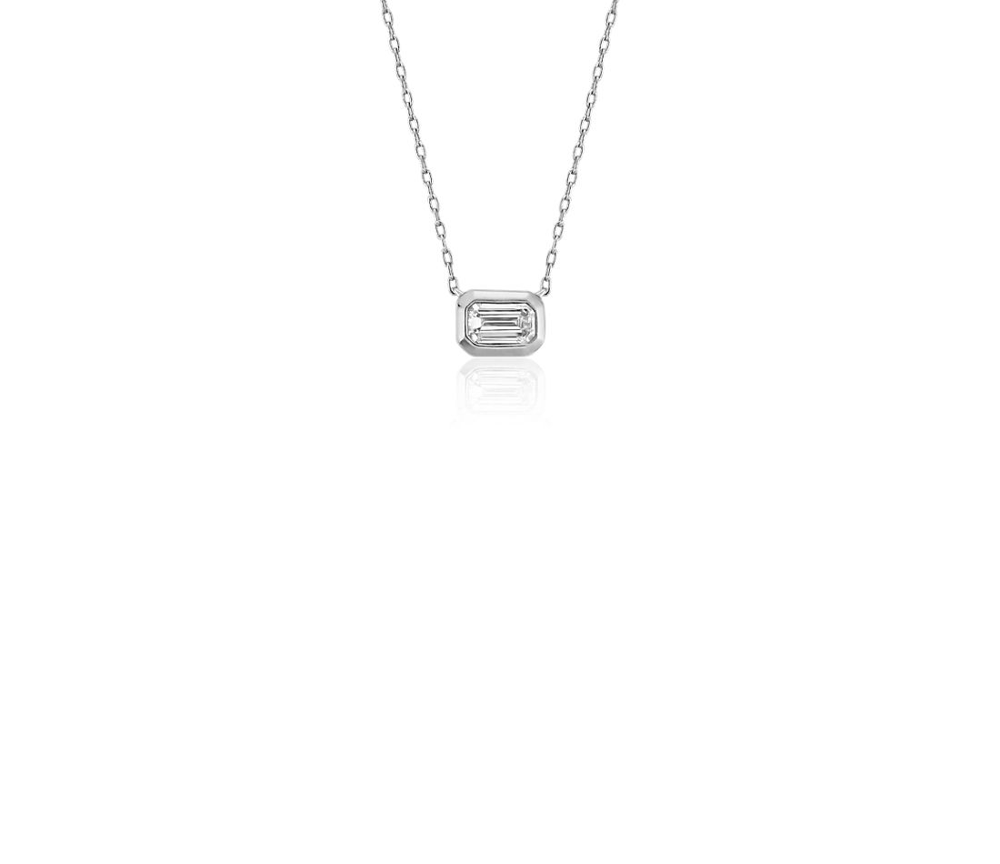 Mini Bezel Set Emerald Cut Diamond Pendant In 14k White