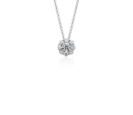 Halo diamond pendant in 18k white gold 1 ct tw blue nile halo diamond pendant in 18k white gold 1 ct tw aloadofball Gallery