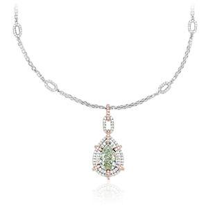 Colgante con diamante en forma de pera de color verde fantasía y halo de diamantes dobles en oro blanco y rosado de 18k (2,06 qt. total)