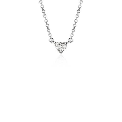 Heart shaped diamond pendant in 18k white gold 38 ct tw blue nile aloadofball Choice Image