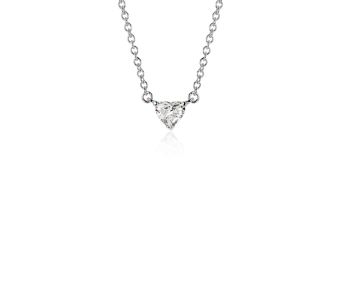 Heart-Shaped Diamond Pendant in 18k White Gold