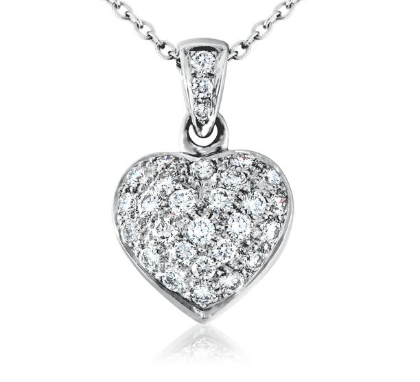 Colgante con forma de corazón con pavé de diamantes en oro blanco de 18 k