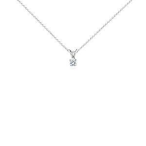 Pendentif solitaire diamant en platine (1/2carat, poids total)