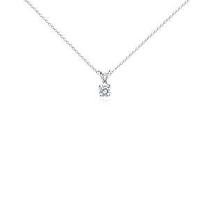 Pendentif solitaire diamant en platine (3/4carat, poids total)