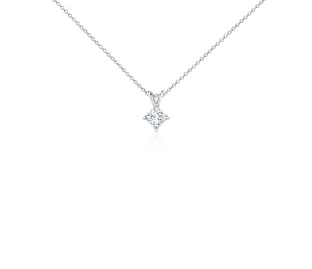 14k White Gold Four-Claw Princess Diamond Pendant (3/4 ct. tw.)
