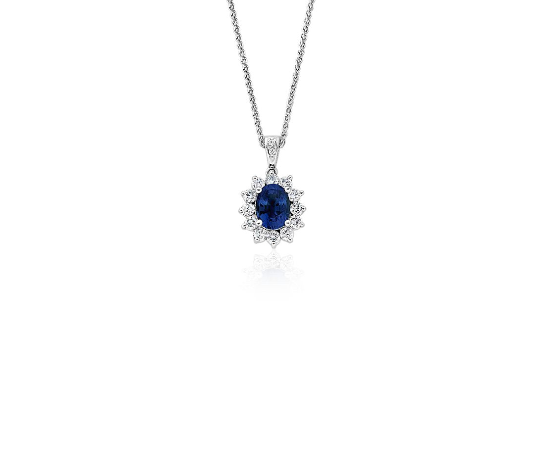 Sapphire And Diamond Pendant In 18k White Gold 8x6mm