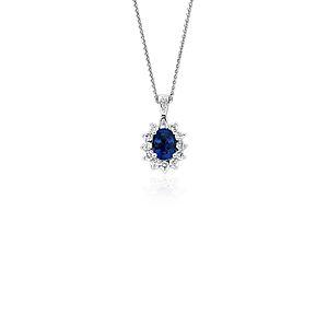 Pendentif diamant et saphir bleu en or blanc 18carats (8x6mm)