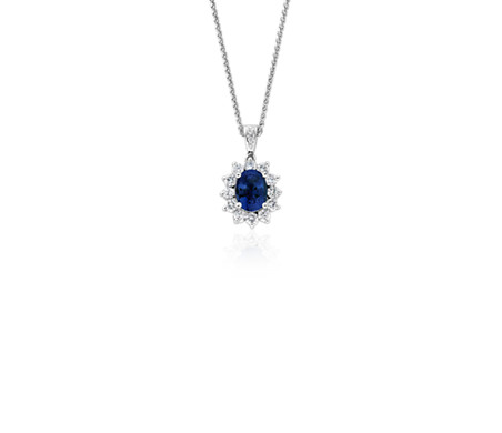 diamond handmade fancy gold carat blue necklace halo pendant white pave