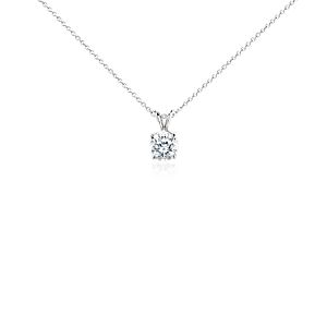 Pendentif solitaire diamant en platine (2carats, poids total)