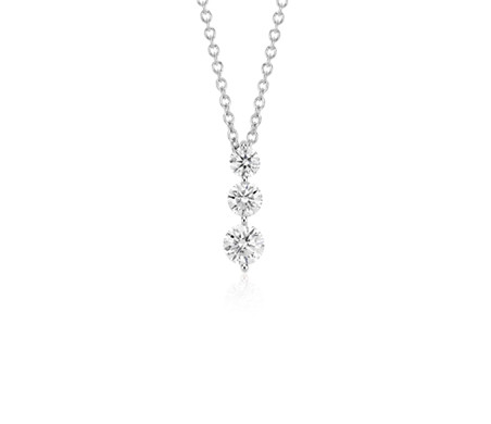 Three-Stone Drop Diamond Pendant in 18k White Gold (1/2 ct. tw.)