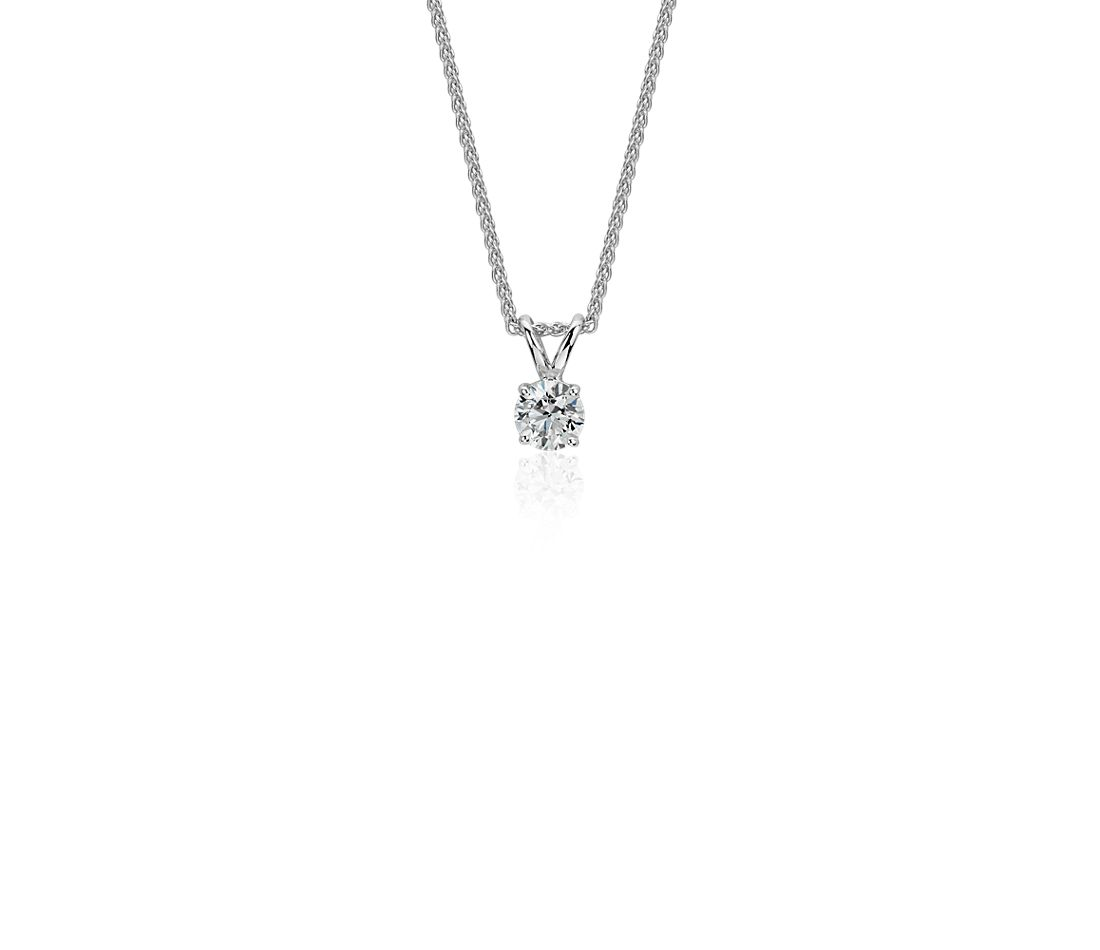 Diamond Solitaire Pendant in 18k White Gold (1/5 ct. tw.)