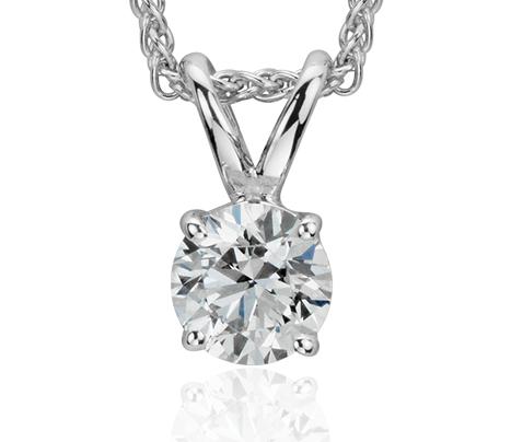 Pendentif solitaire diamant en or blanc 18carats (1/5carat, poids total)