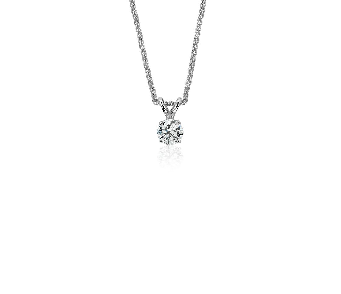 Diamond Solitaire Pendant in 18k White Gold (3/8 ct. tw.)