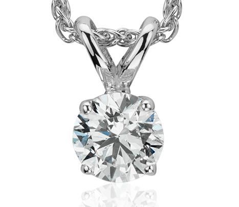 Pendentif solitaire diamant en or blanc 18carats (3/8carats, poids total)