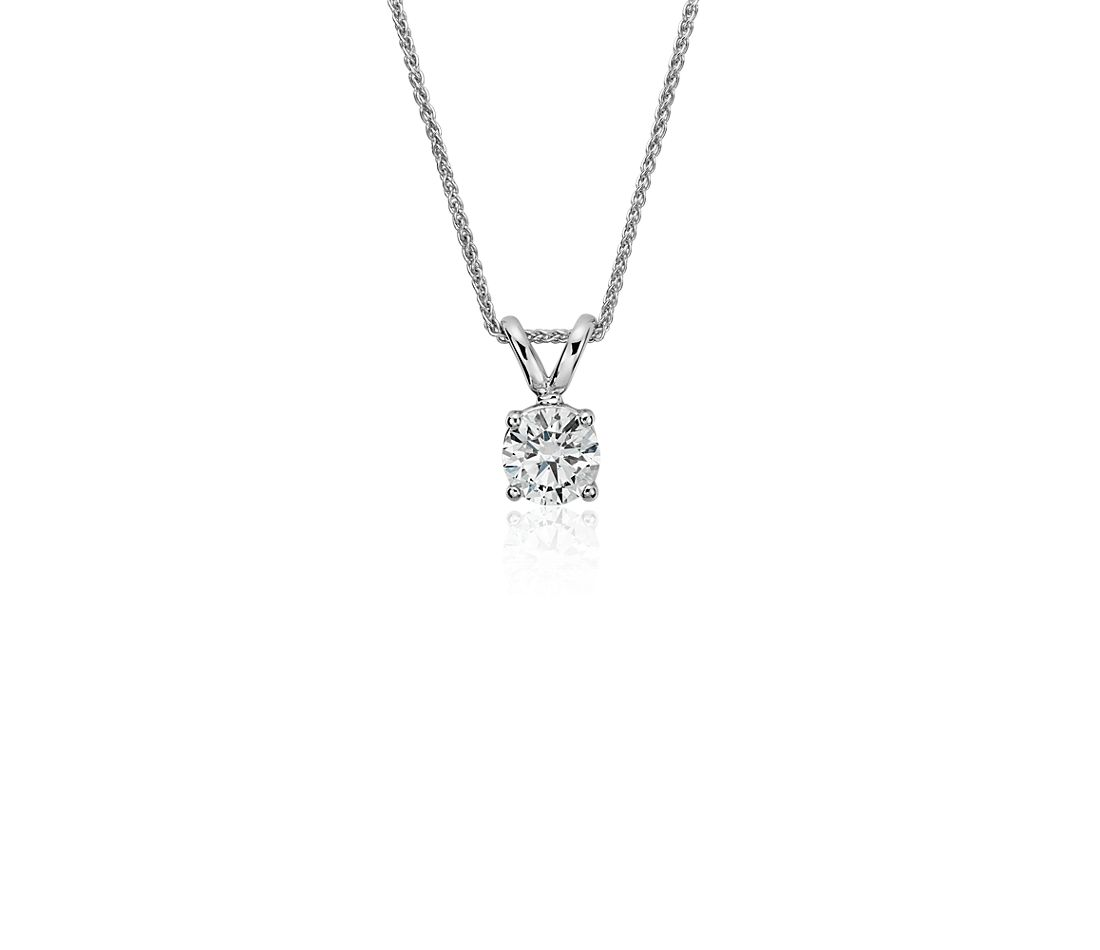 Diamond Solitaire Pendant in 18k White Gold (5/8 ct. tw.)