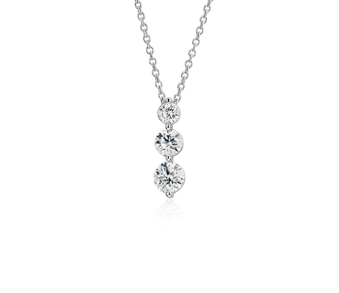 Three-Stone Drop Diamond Pendant in 18k White Gold (1.45 ct. tw.)