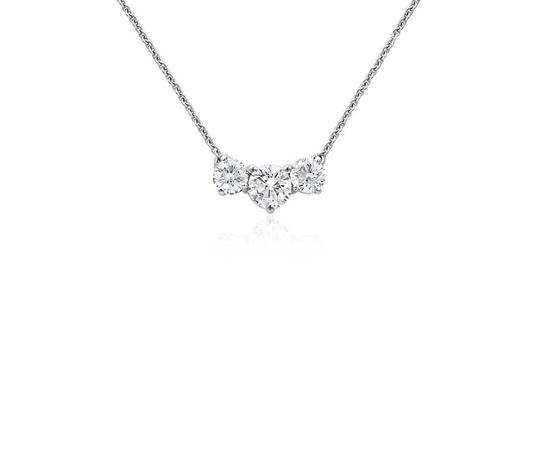 Three-Stone Diamond Pendant in 18k White Gold