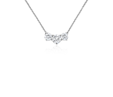 Three stone diamond pendant in 18k white gold blue nile three stone diamond pendant in 18k white gold aloadofball