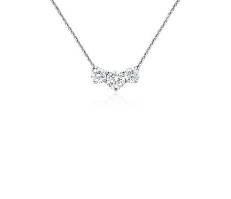 Three stone diamond pendant in 18k white gold blue nile three stone diamond pendant in 18k white gold aloadofball Choice Image