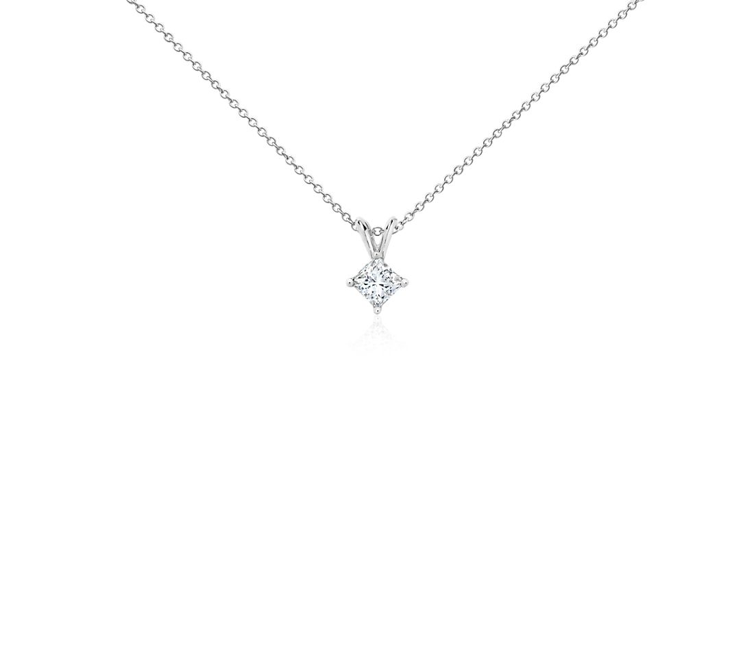 14k White Gold Four-Claw Princess Diamond Pendant (1/2 ct. tw.)