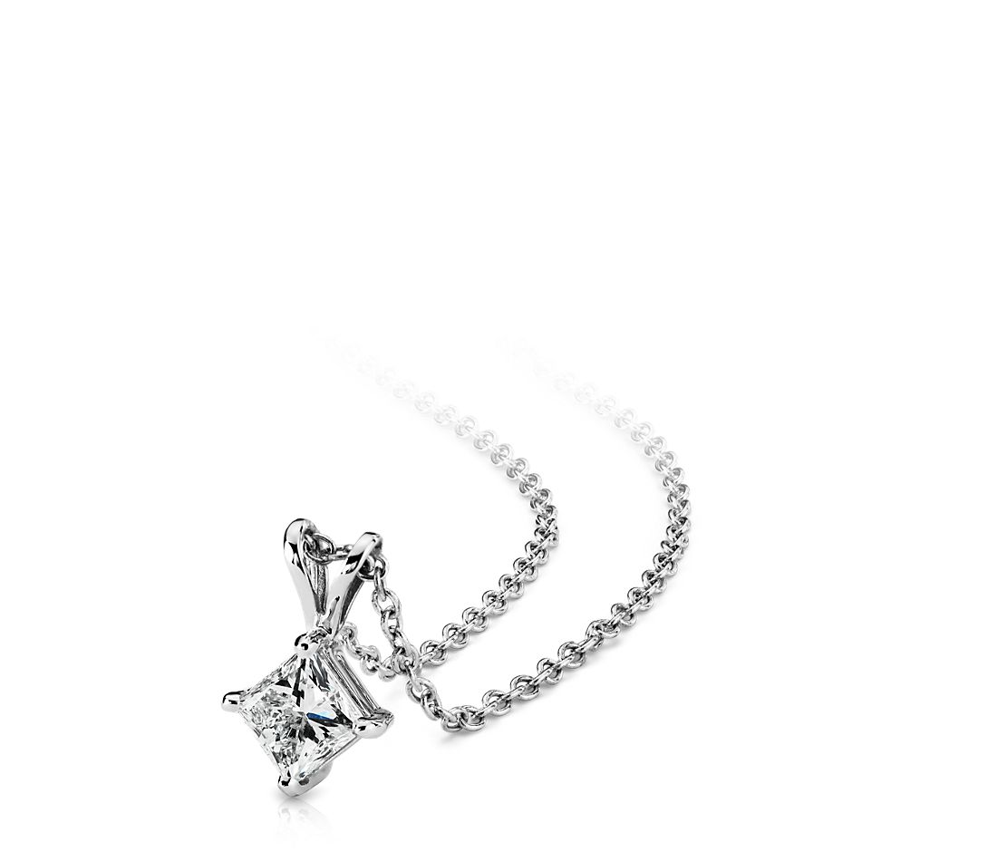 14k White Gold Four-Claw Princess Diamond Pendant (1 ct. tw.)