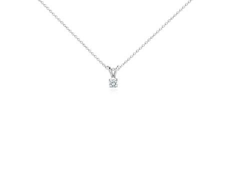 Colgante de diamantes con cuatro garras en oro blanco de 18 k (1/3 qt. total)